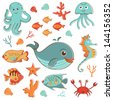 Sea creatures doodles set. Vector format - stock vector