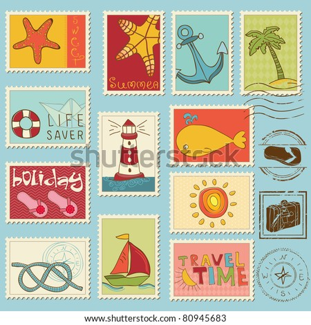 Sea elements - Vector stamp collection - stock vector