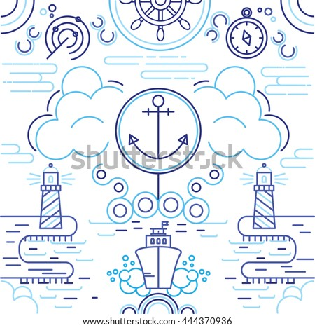 Sea exploring. Illustration with nave, lighthouse, anchor, clouds, navigation system, compass and wave. Perfect for banner and poster. Made in line style.