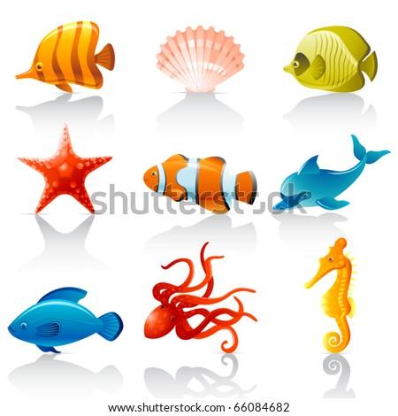 Sea fauna - stock vector