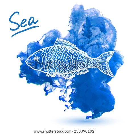 Sea fish on a watercolor background. Original hand drawn illustration - stock vector