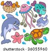 Sea fishes and animals collection - vector illustration. - stock vector