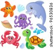 Sea fishes and animals collection 3 - vector illustration. - stock vector