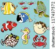 sea fishes and animals,set with cartoon pictures,children illustration,vector images isolated on blue background - stock photo