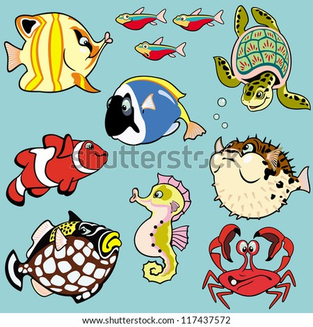 sea fishes and animals,set with cartoon pictures,children illustration,vector images isolated on blue background - stock vector