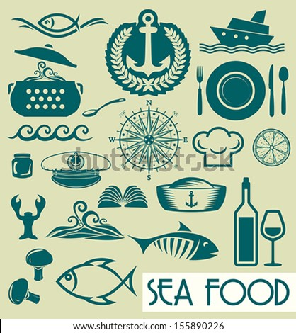 Sea food concept - stock vector
