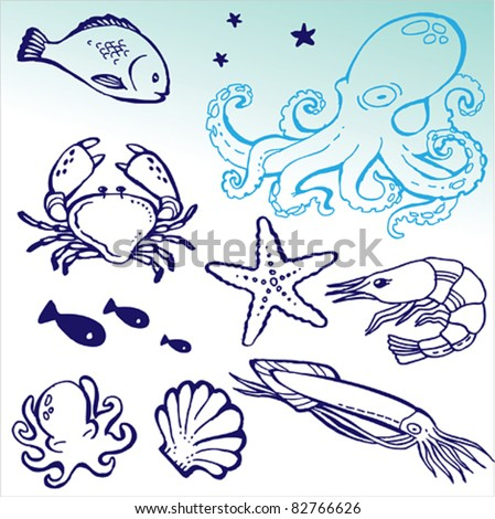 Hand Drawn Sea Doodle Icons Collection Stock Vector