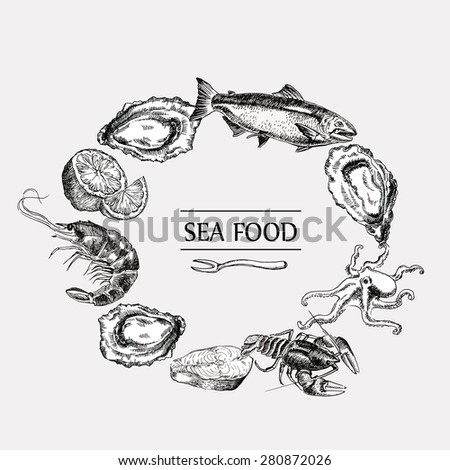 sea food set vector graphic illustration text template
