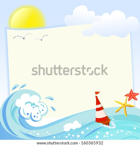 Sea frame with elements of the sea. vector illustration - stock vector