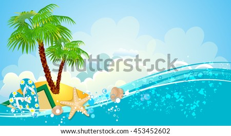 Sea holiday background with palm trees - stock vector