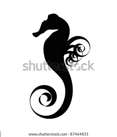 Sea horse black silhouette isolated on the white background