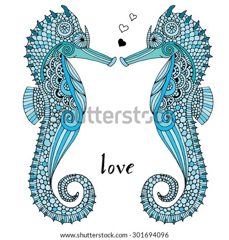 Sea horse illustration - Isolated Sea horse pair  on simple white background - stock vector