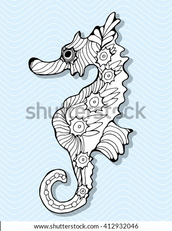 Sea Horse. Marine inhabitants. Sea bottom. A fish. Decorative sea horse. Stylized. Line art. Drawing by hand. Black and white. Oken. Isolated. Tattoo. Linear. Dudling. Graphic arts - stock vector