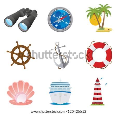 Sea icons. Vector set - stock vector