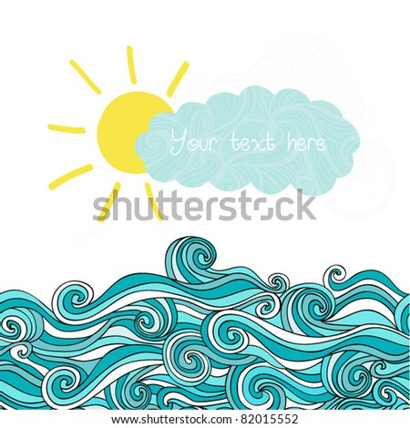Sea illustration with sun and cloud, maritime background with place for your text, sea waves - stock vector