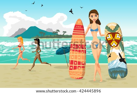 Sea landscape summer beach, woman with surfboards. Two woman dressed in swimsuit is running. Beach of sea to the island in the distance in summer vacation. Vector flat illustration - stock vector