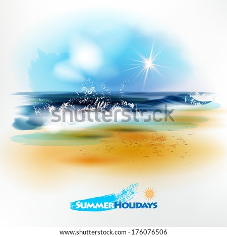 Sea landscape.The illustration contains transparency and effects. EPS10 - stock vector