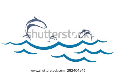 Sea landscape with fishes. - stock vector