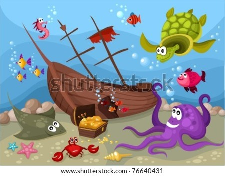 sea life - stock vector