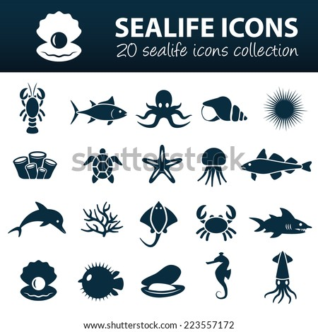 sea life icons - stock vector