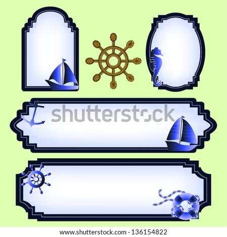 Sea life labels in shades of blue. - stock vector