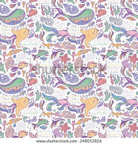 Sea life pattern | Soft white seamless vector background with whales, fishes, corals