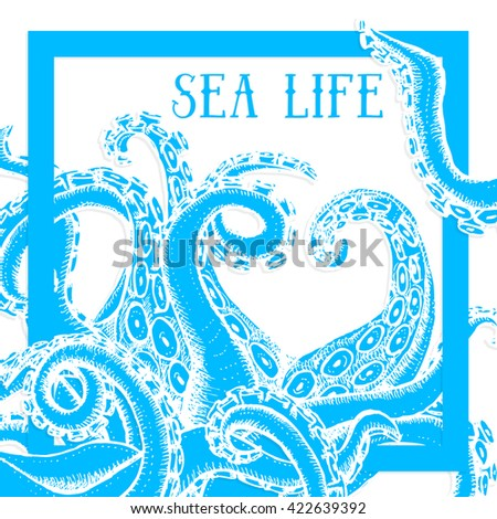 Sea life poster with octopus, vector - stock vector