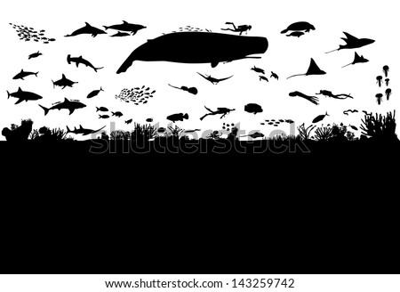 Sea life scene silhouette, vector - stock vector