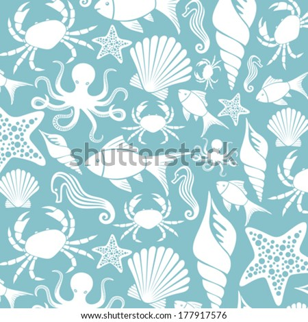 sea life seamless pattern (ocean animals pattern, sea life background) - stock vector