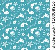 Sea life seamless pattern with fishes and marine life - stock vector