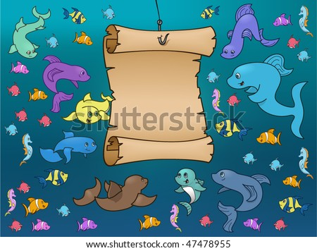 Sea Life surrounding parchment - vector illustration - stock vector