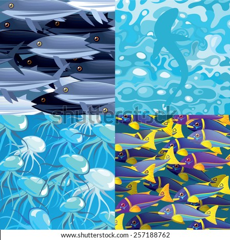 sea life textures and backgrounds - stock vector
