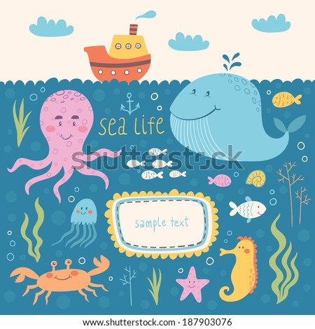 Sea life vector set. Vector illustrations of marine animals: whale, octopus, jellyfish, sea horse, crab, fish - stock vector