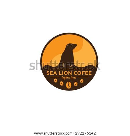 Sea Lion Coffee Logo - stock vector