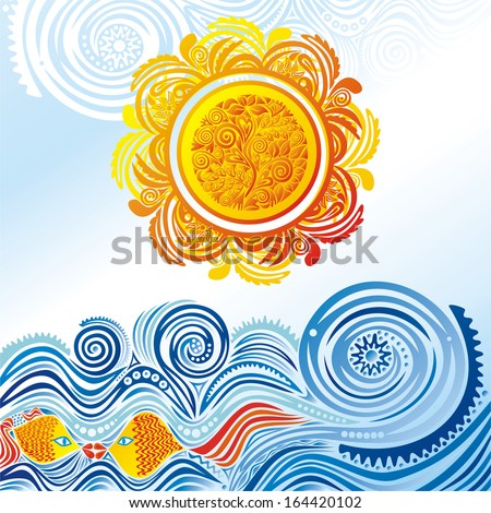 Sea nature pattern background wave fishes vector illustration - stock vector