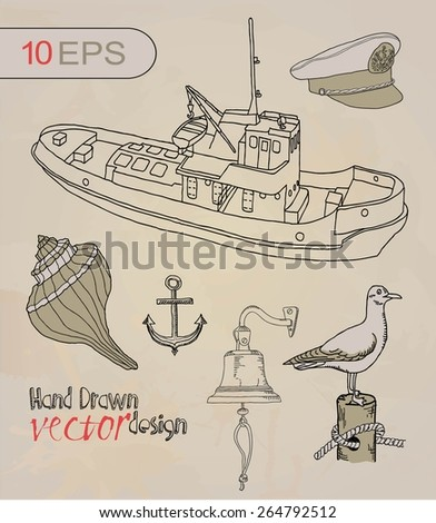 sea. Nautica set - stock vector