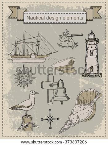 Sea. Navigation set - stock vector