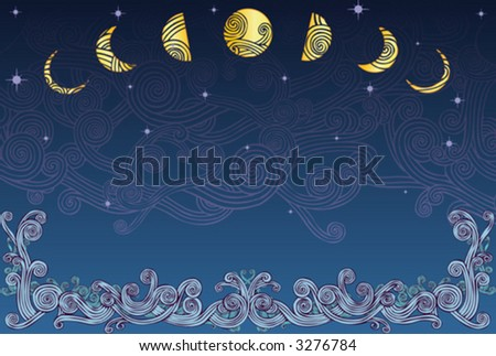 Sea, Night, and Sky Design, (also in jpeg) - stock vector