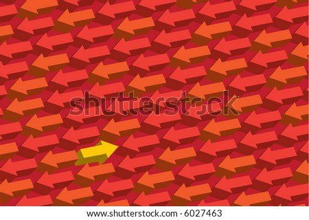 sea of arrows with one moving in the opposite direction - stock vector