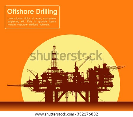 Sea oil rig. Offshore drilling platform in the sea at sunset. Detail vector illustration.