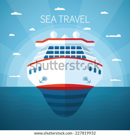 Sea or ocean cruise vector concept in flat style - stock vector