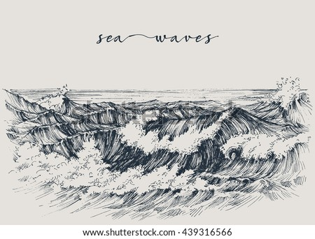 Sea or ocean waves drawing. Sea view, waves breaking on the beach - stock vector