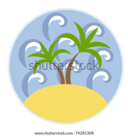 Sea, palm trees and beach. Travel vector emblem - stock vector