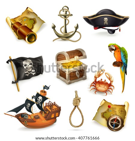 Sea pirates, vector icon set - stock vector