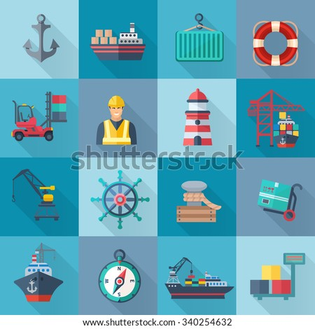 Sea port flat icons set with anchor container ship lifebelt isolated vector illustration - stock vector