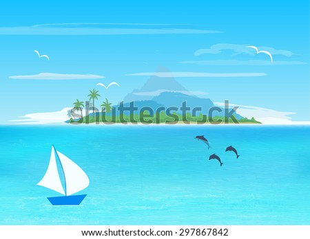 sea, sailboard, island with mountain on horizon,   vector illustration  - stock vector