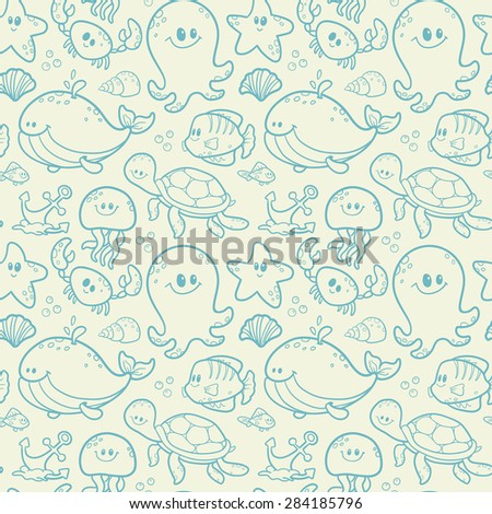Sea seamless pattern - stock vector
