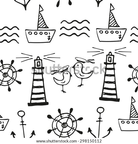 Sea seamless pattern. Hand-drawn  black and white doodles - stock vector