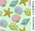 Sea seamless pattern. Original hand drawn illustration in vintage style - stock photo