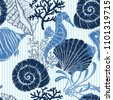 sea seamless pattern. seashell  ...